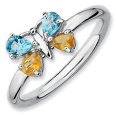 Sterling Silver Citrine Blue Topaz Stackable Butterfly Ring Jewelry Available Exclusively at Gemologica.com