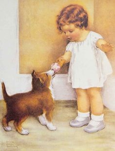 Bessie Pease Guttman painting of a little girl with a Collie puppy.