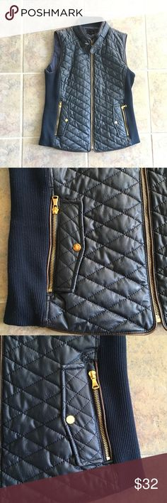 Navy faux leather vest Navy faux leather vest with brown trim & gold zipper accents. Great piece for fall! Minor pilling on fabric stretch sides. No rips or tears. Pet & smoke free home. Cross posted. Fate Jackets & Coats Vests