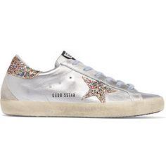 Golden Goose Deluxe Brand Super Star glittered metallic leather sneakers