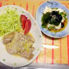 写真の撮り方がよくないですね(´+ω+`) - 39件のもぐもぐ - 鶏肉のねぎ塩と豆腐サラダ by yoshi555