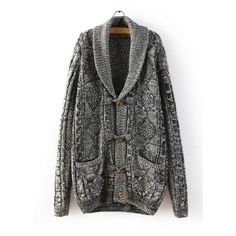 Color Mixed Turn-Down Collar Long Sleeve Trendy Style Women's Cardigan, GRAY, XL in Sweaters & Cardigans | DressLily.com