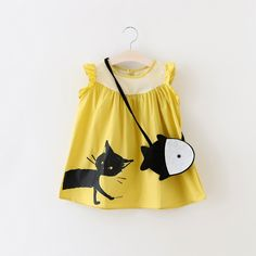 US $8.94 Fashion Summer Girls Dress 2016 New Children Clothes Cotton Cartoon Cat Print Sleeveless Children Dress with Fish Ornaments 2-6y aliexpress.com