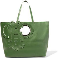 Emilio Pucci - Cutout Leather Tote featuring polyvore women's fashion bags handbags tote bags dark green leather travel tote leather tote purse leather tote bags green leather tote green leather handbag