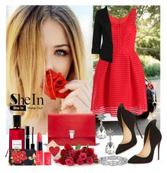 """""""Shein Red Dress"""" by diva1 ❤ liked on Polyvore featuring Proenza Schouler, Christian Louboutin, Boohoo, Sisley Paris, Diana Vreeland Parfums, Volcom, Sheinside and shein"""