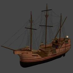 Although i dont trust the name on the bow of the ship or its overall design, it does look somewhat similar to Cartier's Grand hermine ship he used to his expedition to Quebec