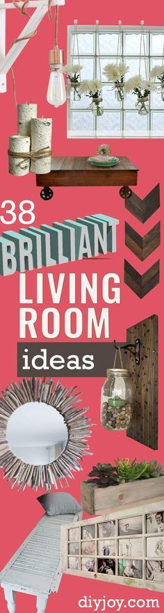 DIY Living Room Decor Ideas - Cool Modern, Rustic and Creative Home Decor - Coffee Tables, Wall Art, Rugs, Pillows and Chairs. Step by Step Tutorials and Instructions http://diyjoy.com/diy-living-room-decor-ideas