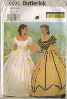 Southern Belle Gown Civil War Era Dress Reenactment Misses Size 12 - 14 -  16 Uncut Butterick 6693 by PrettyfulPatterns on Etsy c5326b243003
