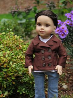 Brown coat by RainbowLilyDesigns on Etsy. Made following the Peacoat pattern, found at http://www.pixiefaire.com/products/peacoat-18-doll-clothes. #pixiefaire #peacoat
