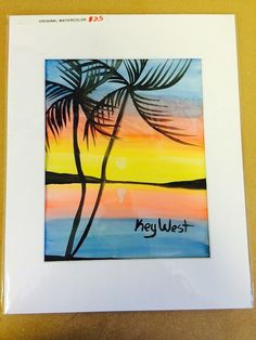 Key west palm tree sunset watercolor, $25.00 USD Only 1 available, 8x10 painting .....with matte 11x14.