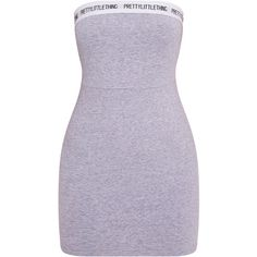 PrettyLittleThing Grey Bandeau Dress ❤ liked on Polyvore featuring dresses, gray dress, grey dress and bandeau dress