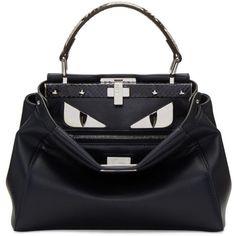 Fendi Navy Mini Peekaboo Bag (5 265 370 LBP) ❤ liked on Polyvore featuring bags, handbags, navy, zip purse, studded purse, structured handbags, mini duffle bag and fendi handbags