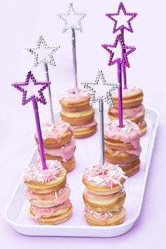 Stacked donuts with star wands at a Rockstar Birthday Party!  See more party ideas at CatchMyParty.com!