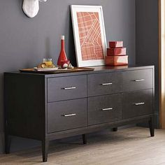 Narrow-Leg 6-Drawer Dresser - Chocolate #westelm    We bought this for the master bedroom - matches the rest of our furniture.