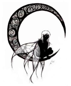 Gothic Fairy And Moon Tattoo Design Fairy Tattoo Designs, Tribal Tattoo Designs, Gotik Tattoo, Gothic Fairy Tattoo, Gothic Drawings, Tattoo Mond, Moon Fairy, Beautiful Fairies, Gothic Art