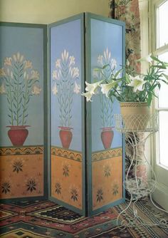 painted screen room divider flower pots still life in the style of william morris