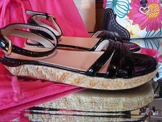 PRADA Platform Sandal Patent leather Black Size 36 6B Shoes $99