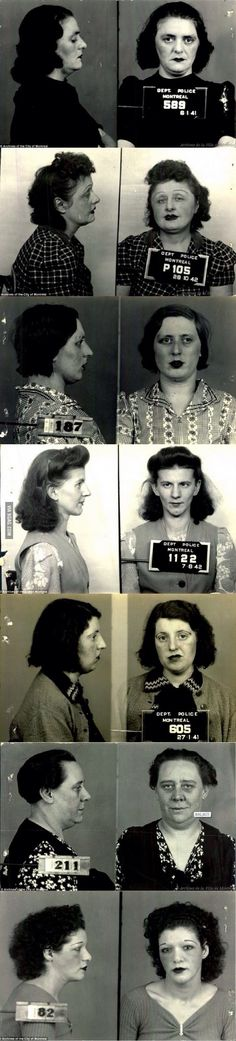 Mugshots of Montreal prostitutes from - desiree Old Photographs, Old Photos, Mother Courage, 1940s Hairstyles, Of Montreal, Women In History, Mug Shots, Best Funny Pictures, Vintage Ladies