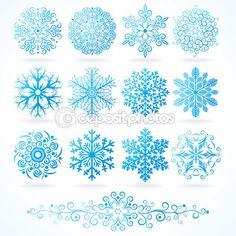 3D vector los copos de nieve, conjunto de festivo decorativos — Vector stock © PILart #8444191