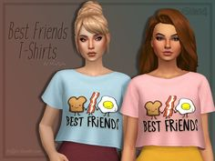 Matching shirt for your simmie and her best friend(s). Coming in a bunch of design. Found in TSR Category 'Sims 4 Female Everyday'