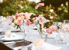 #tablescapes, #centerpiece, #table  Photography: Sylvie Gil Photography - sylviegilphotography.com Floral Design: Kathleen Deery Design - kathleendeerydesign.com  Read More: http://www.stylemepretty.com/2014/05/13/outdoor-garden-affair-full-of-classic-touches/