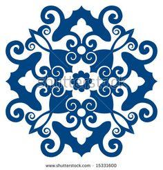 ornate floral decoration Tile Art, Mosaic Art, Tiles, Stencil Patterns, Tile Patterns, Ceramic Painting, Ceramic Art, Devin Art, Pewter Art
