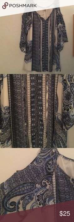 Blue and white paisley printed cold shoulder top Blue and white paisley printed cold shoulder top from Dress Barn, never worn no tags and couldn't return Dress Barn Tops Blouses