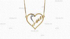 Coração Love - Gargantilha em ouro amarelo com diamantes.