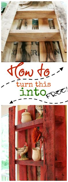 How to turn a pallet into a cute wall shelf. With chicken wire, burlap and painted with ritdye