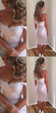 Lace Prom Dresses Pink, Long Prom Dresses 2018, Sheath/Column Party Dresses Off-the-shoulder, Silk-like Formal Evening Pageant Dresses Dresses Satin Knee-length