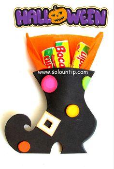 Souvenir para halloween-dulcero en goma eva -foami-zapato de bruja -DIY