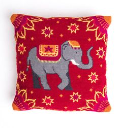 Needlepoint/tapestry elephant cushion kit, Indian Summer by tapestrybarn, $80.00