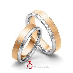 1 Paar Trauringe - Legierung: Weißgold 585/- Roségold 585/- Breite: 5,00 - Höhe: 1,40 - Steinbesatz: 1 Brillant 0,015 ct. tw, si (Ring 1 mit Steinbesatz, Ring 2 Trauringe Steinbesatz) Best Friend Jewelry, Vintage Stil, Bangles, Bracelets, Sterling Silver Jewelry, Gold Rings, Wedding Rings, Engagement Rings, Women