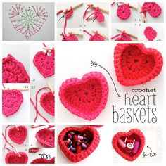 I love this heart shaped storage basket ! If you're looking for some unique ways to organize your home, try out this crochet baskets and other ways to crochet your way to organization! A crocheted basket makes a lovely home décor item to store toys, yarn, supplies or miscellaneous items in.Enjoy ! You will need : Zpagetti Yarn in pink and/or red (if you can't get hold of zpagetti, try with very thick yarn, thin rope or chunky twine) 12mm Bamboo hook stitch marker (optional) Crochet Heart…