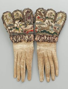 Leather gloves with silk & metal thread embroidery English, early 17th century Museum of Fine Arts Boston Ref 43.411a-b