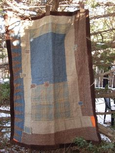 """.Simple, """"Hap"""" style quilt. Cowfolks used to carry bedrolls similar to this (only narrower) made from bits of old blankets and clothing."""