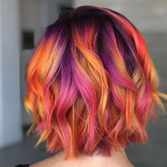 Vibrant Autumn Sunset - You can find Bright hair and more on our website. Vivid Hair Color, Bright Hair Colors, Hair Color Purple, Fall Hair Colors, Hair Dye Colors, Cool Hair Color, Fire Hair Color, Bright Colored Hair, Hair Colours And Styles