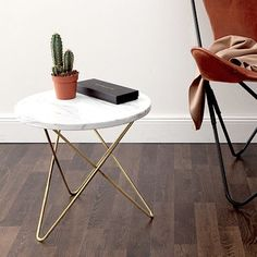 side table, marble, woodm leather, white