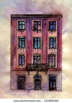 Old house number 43. Original watercolor painting on paper of old street of Lviv.