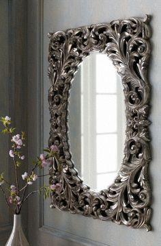 Silver Baroque Mirror from Horchow. Saved to Home. Shop more products from Horchow on Wanelo. Sunburst Mirror, Mirror Mirror, Wall Mirrors, Mirror Image, Baroque Mirror, Beautiful Mirrors, Baroque Fashion, Through The Looking Glass, Interior Barn Doors
