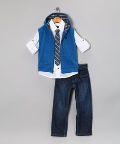 Take a look at this College Boyys Royal Blue Zip-Up Vest Set - Toddler by College Boyys on #zulily today!
