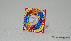 RAINBOW CRYSTAL Ring   Interchangeable Ring  by YouniquesRings, $51.50