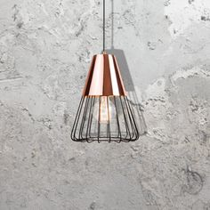 E2 Contract Lighting | Products | Copper Caged Pendant CL-32523 | Copper Caged Pendant, a copper pendant with black metal cage.