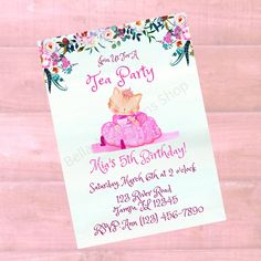 Personalized Kitty Tea Party Birthday Invitation - Girls Princess Kitty Printable Birthday Invite - Digital Print Email or Text Custom Baby Shower Invitations, Printable Birthday Invitations, Personalized Invitations, Princess Kitty, Childrens Wall Art, Online Printing Companies, Tea Party Birthday, Baby Wall Art, Party Shop