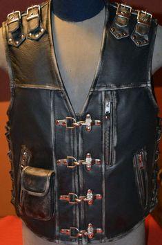 Men Motorcycle -                                                              Handmade Biker vest Unique motorcycle vest by MPBikerTailor