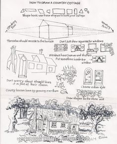 How to Draw Worksheets for Young Artist: How to draw a country cottage