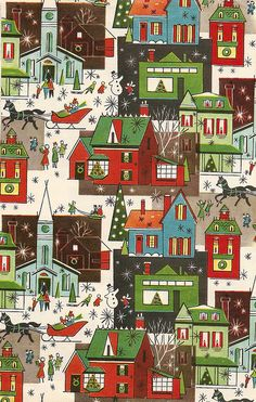 Vintage christmas wrapping paper. I love vintage christmas