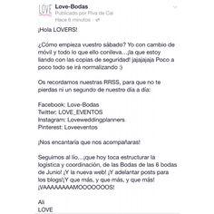 ¡Hola LOVERS!  ¿Cómo empieza vuestro sábado? Yo con cambio de móvil y todo lo que ello conlleva…¡la que estoy liando con las copias de seguridad! jajajajaja Poco a poco todo se irá normalizando :)  Os recordamos nuestras RRSS, para que no te pierdas ni un segundo de nuestro día a día:  Facebook: Love-Bodas Twitter: LOVE_EVENTOS Instagram: Loveweddingplanners Pinterest: Loveeventos  ¡Nos encantaría que nos acompañaras!  #love #weddingsinCádiz #bodas #weddingplanner #deco #handmade #candybar