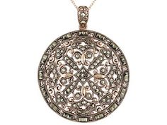 Tillya Treasures(Tm) Round And Square Marcasite 18k Rg Over Sterling Pendant With Chain Erv $204.00, sale $79.99