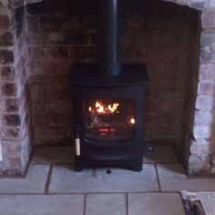 Lovely looking @charnwoodstoves C-Four installed in a brick chamber. #newstoveinstall #newstove #woodburner #woodburningstove #hygge #charnwoodstoves